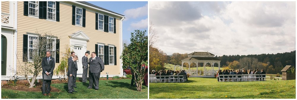 Exterior of Salem Cross Inn during a fall wedding. Groomsmen outside of Inn and second image is of gazebo set up for wedding ceremony - Wedding Photography by Ryan Richardson Photography.