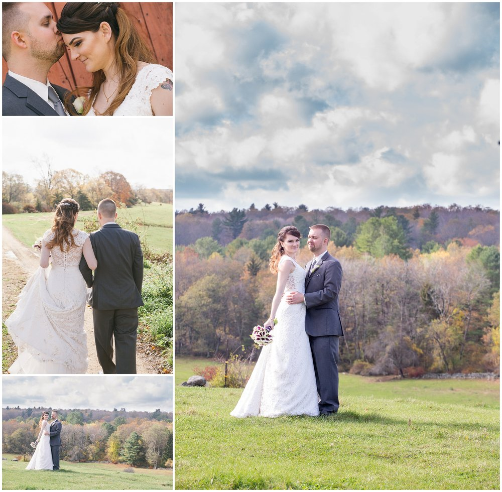 Rustic fall portraits of bride and groom at Salem Cross Inn - Wedding Photography by Ryan Richardson Photography.