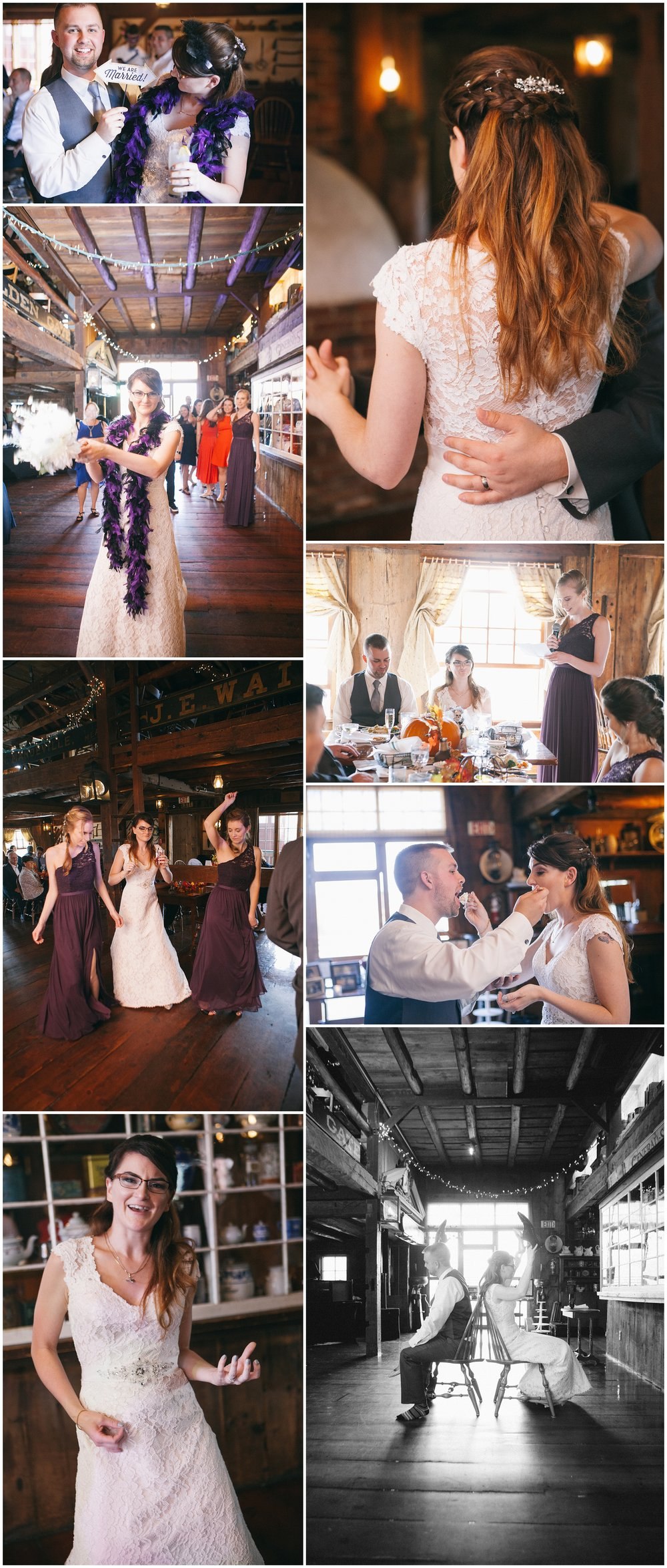 "A little more fun at the Salem Cross Inn during the reception - images include dancing, bride getting ready to toss the bouquet and the ""shoe game"" - Wedding Photography by Ryan Richardson Photography."