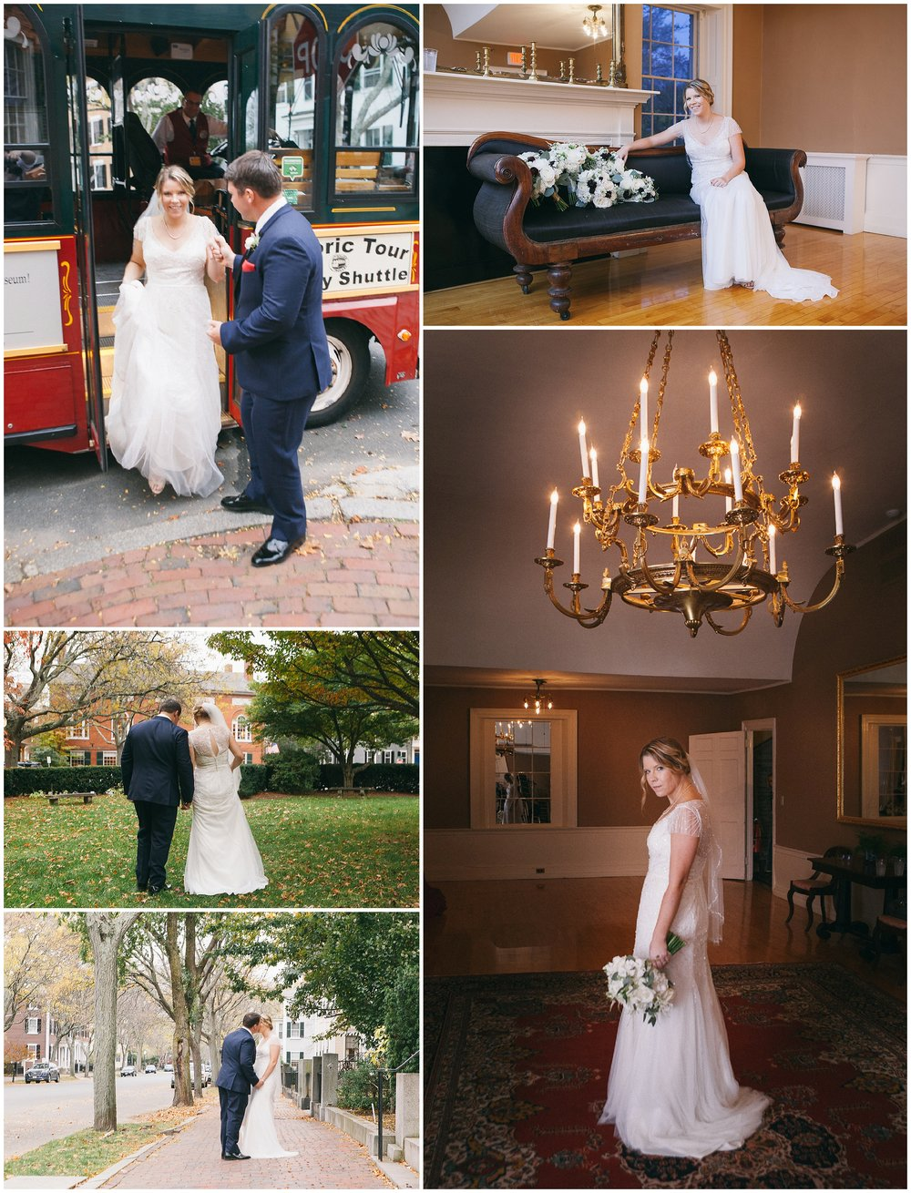 Stepping out of the trolley and into adventure. Wedding portraits of bride and groom near Hamilton Hall in Salem Massachusetts - Wedding Photography by Ryan Richardson Photography.