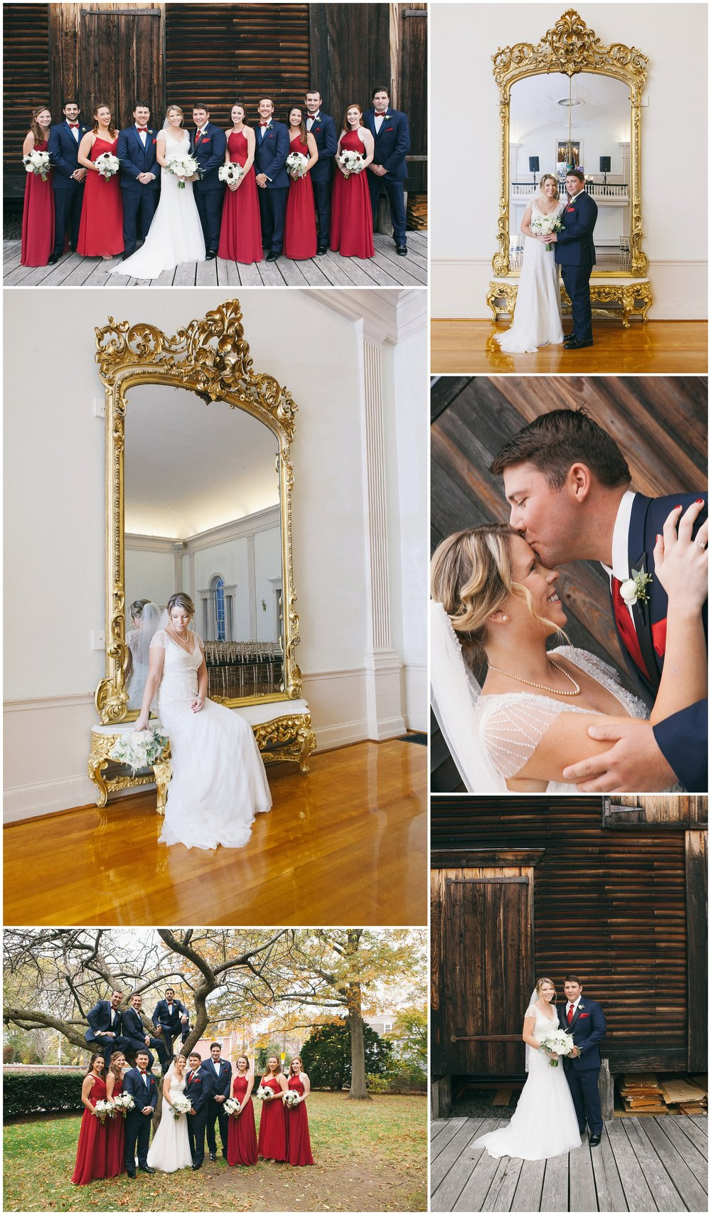 Fall wedding portraiture in New England, including images of bride and groom as well as pictures of bridal party. In lower left, groomsmen add verticality to image by climbing into the trees. - Wedding Photography by Ryan Richardson Photography