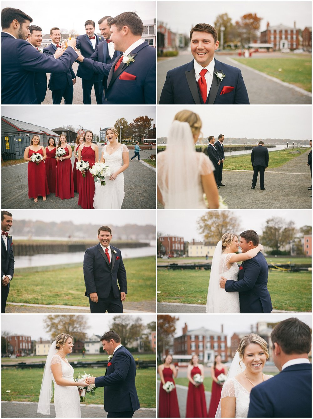 A bride is revealed during the wedding photography first look in Salem's historic waterfront district - Wedding Photography by Ryan Richardson Photography.