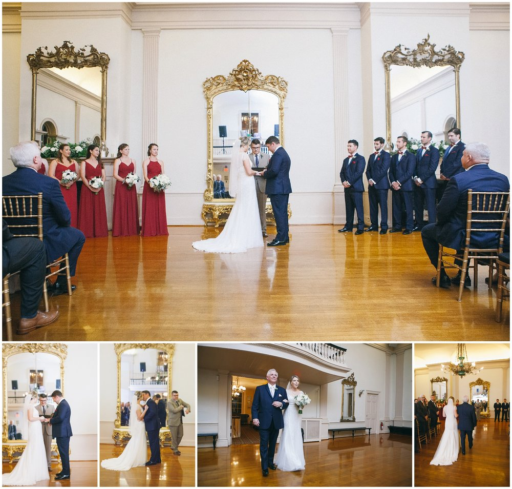 Hamilton Hall in Salem, MA boasts a gorgeous Federal-inspired ball room dominated by a series of large gilt-framed mirrors. It is a beautiful spot for a wedding ceremony and can be turned around for use as a reception space while guests enjoy cocktails on the first floor. - Wedding Photography by Ryan Richardson Photography