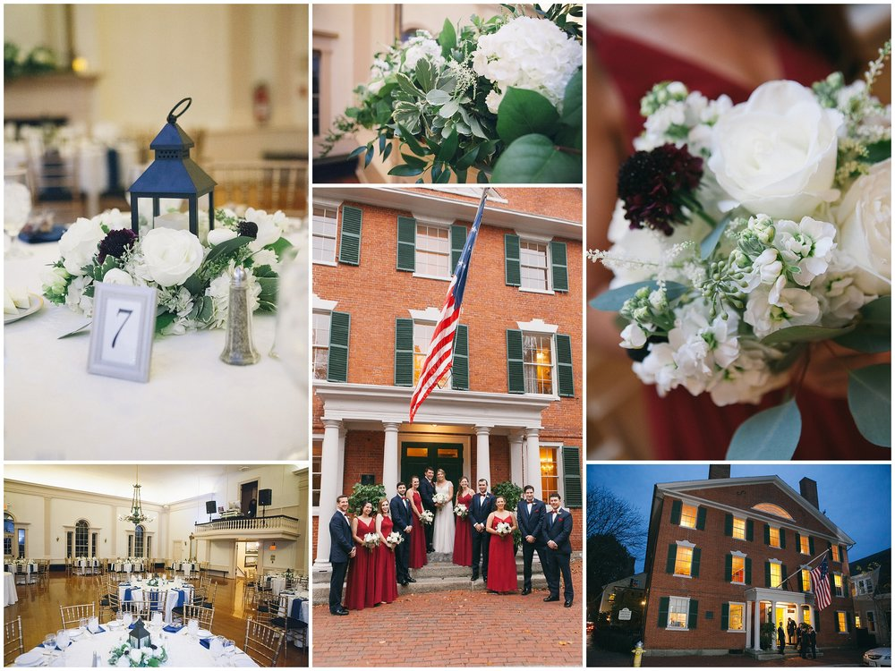 Details of a wedding at Hamilton Hall in Salem, MA. Bridal party posing in front of Hamilton Hall - Wedding Photography by Ryan Richardson Photography