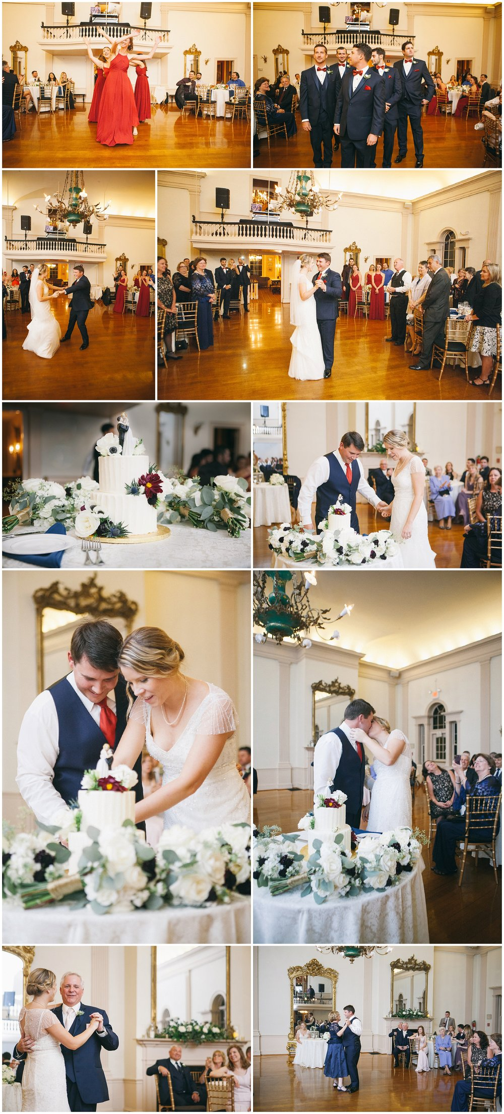 Images from a wedding reception at Hamilton Hall in Salem, Massachusetts. From the top: The bridal party enters to coordinated dances; the bride and groom enjoy their first dance; cutting the cake; photos of the couple dancing with their parents - Wedding Photography by Ryan Richardson Photography