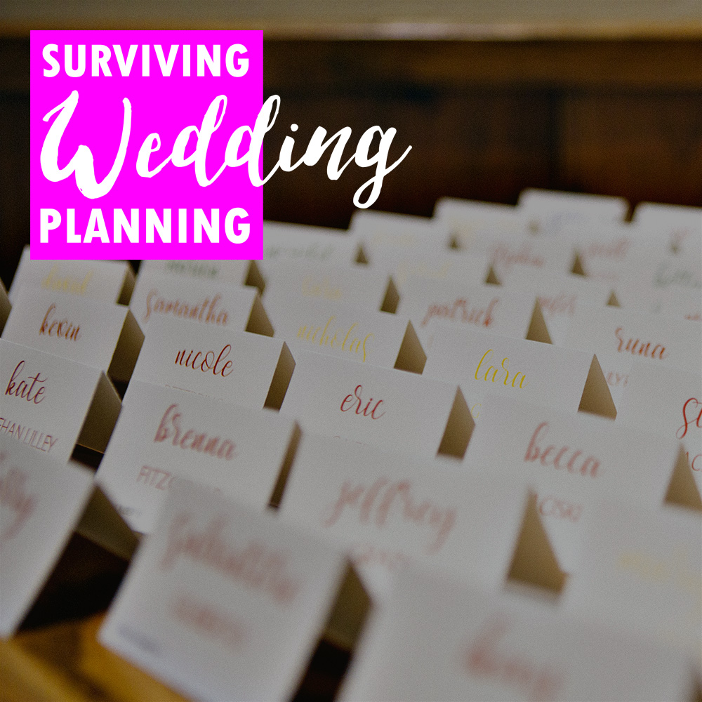 Escort cards are an easy way to get guests to their tables. At this Zukas Hilltop Barn wedding, teh bride and groom used the color of the font to tell servers which meal the guests had requested, which is an extra elegant solution.