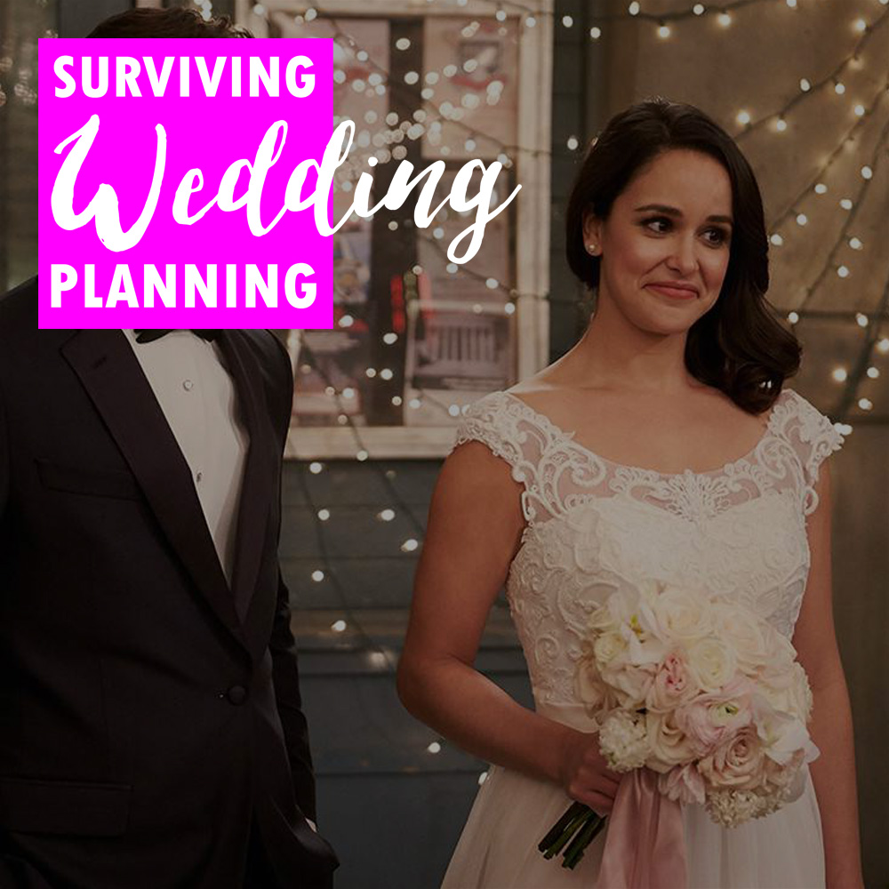 "A still from the show ""Brooklyn 99"" after jake and Amy's wedding, a nice illustration for this installment of Surviving Wedding Planning where we talk about how to play ""good cop/bad cop"" to get people out of the way."