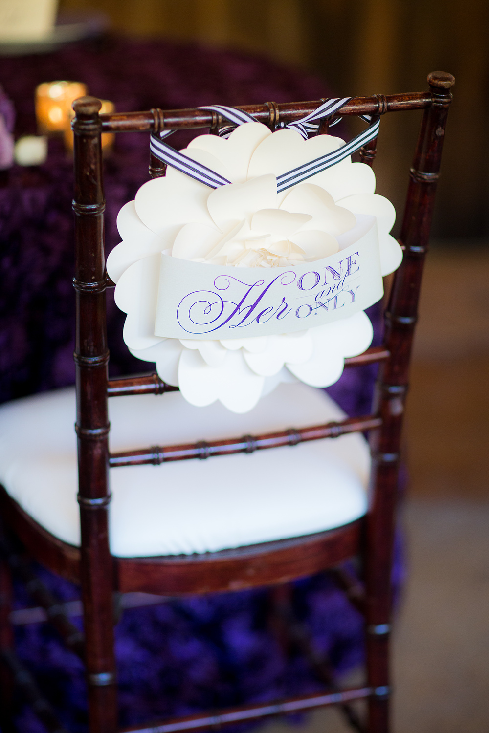 Love Notes Paper Flower Chair Back for the Bride & Groom by www.honeypaperie.com } Photo by The Youngrens