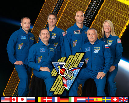Image above: Pictured on the front row are Expedition 36 Commander Pavel Vinogradov (left) and Flight Engineer Fyodor Yurchikhin. Pictured from the left (back row) are Flight Engineers Alexander Misurkin, Chris Cassidy, Luca Parmitano and Karen Nyberg. Photo credit: NASA