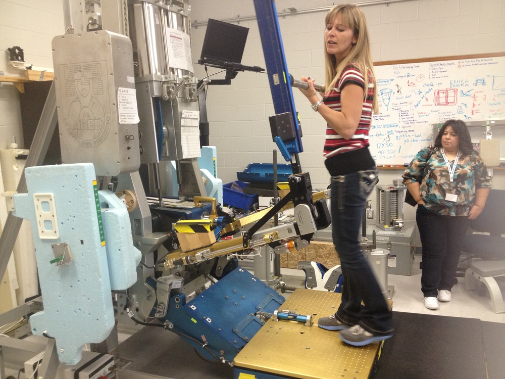 Astronauts have to exercise to prevent muscle atrophy. This machine provides resistance and allows squats and lifts.