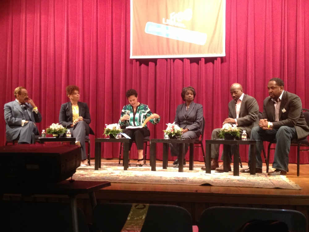 Panelist at the WURD Speaks: Blackout event in Philadelphia. From L-R - Robert W. Bogle, President & CEO of the Philadelphia Tribune; Brigitte Daniel, Executive Vice President of Wilco Electronic Systems; Sara Lomax-Reese, President & General Manager of 900AM-WURD; Mignon Clyburn, FCC Commissioner; William Crowder, Managing Director of DreamIt Ventures & Lead Advisor of the Comcast Ventures; Navarrow Wright, CTO Interactive One