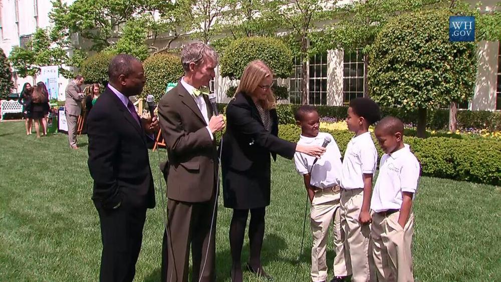 Levar Burton and Bill Nye The Science Guy help interview three young budding scientists