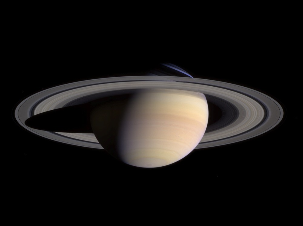 Saturn in natural color, photographed by Cassini, 2004