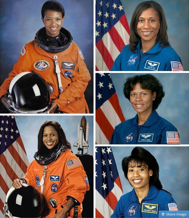 Image Credit: NASA.  Pictured clockwise, starting from top L: Mae Jemison, Jeanette Epps, Yvonnne Cagle, Stephanie Wilson, and Joan Higginbotham.