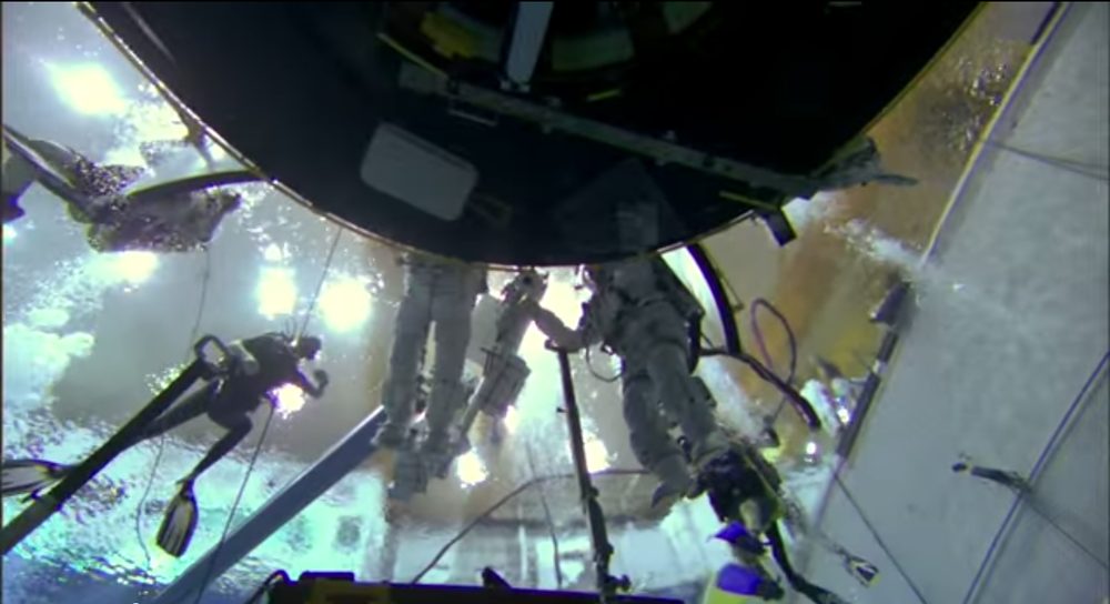 Astronauts train for certain missions, including Hubble service repair, by performing in special underwater tanks. This simulates a zero gravity environment.