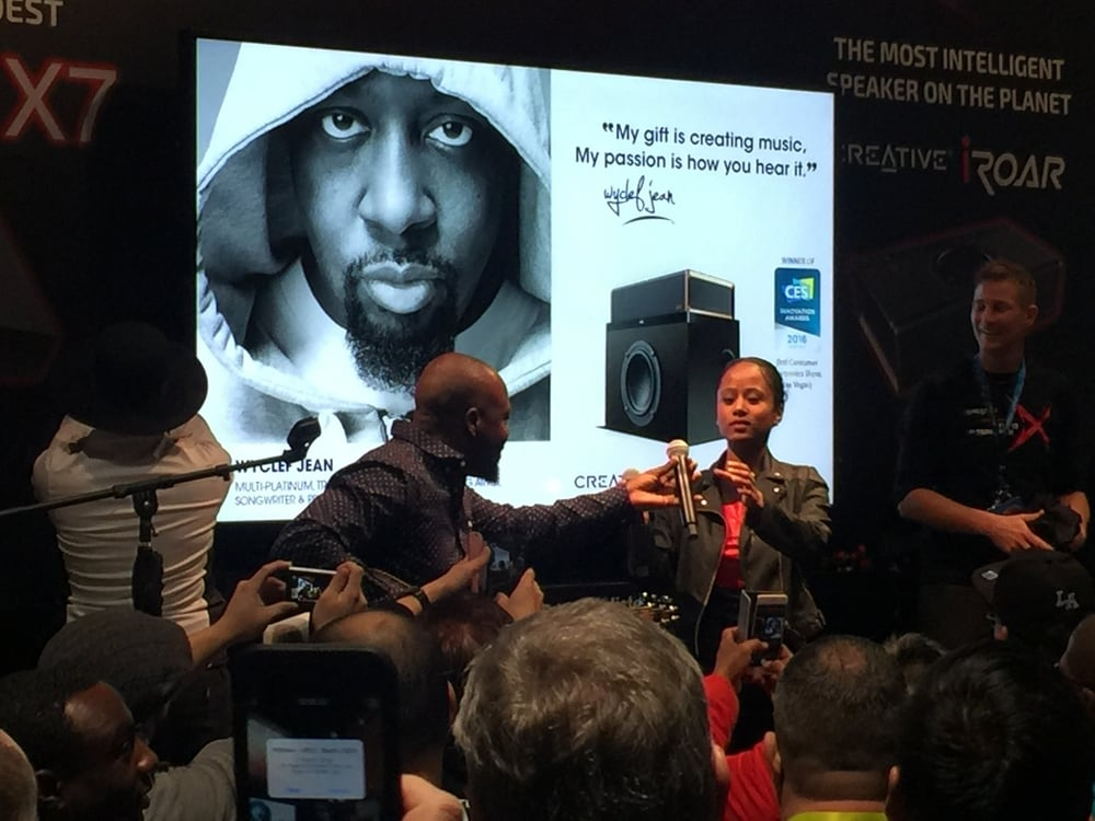 Wyclef serenades the crowd at CES 2016
