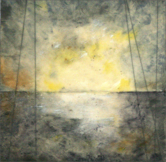 Lisa Bick,  Up North , encaustic on panel, 2013.