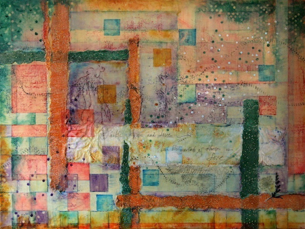 Abide . Encaustic, handmade paper, and oil on panel. 36 x 48 in. Private collection (Seattle, WA).