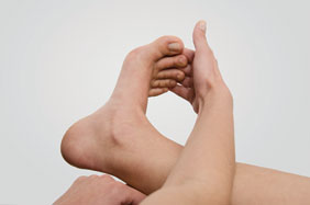 Use your hand to push your toes back and forth to get that range of motion going again.
