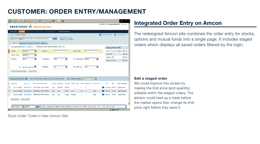 Customer: Order Entry/Management