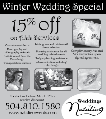 Newspaper ad design for a fictional wedding planning company.  I also created the company logo.