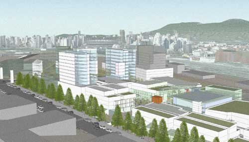 A rendering (not the design!!) of Emily Carr's new campus at Great Northern Way