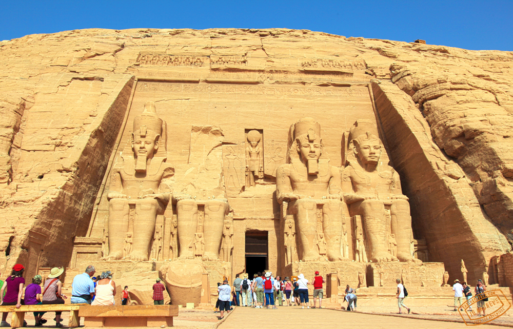 Abu Simbel located in Nubia, southern Egypt. Situated on the western bank of Lake Nasser.