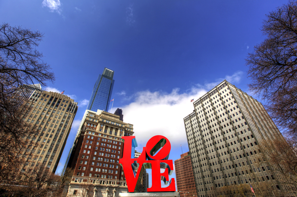 Love Park (official name: JFK Plaza) is located in Center City, Philadelphia, Pennsylvania. The park is nicknamed Love Park for Robert Indiana's Love sculpture.