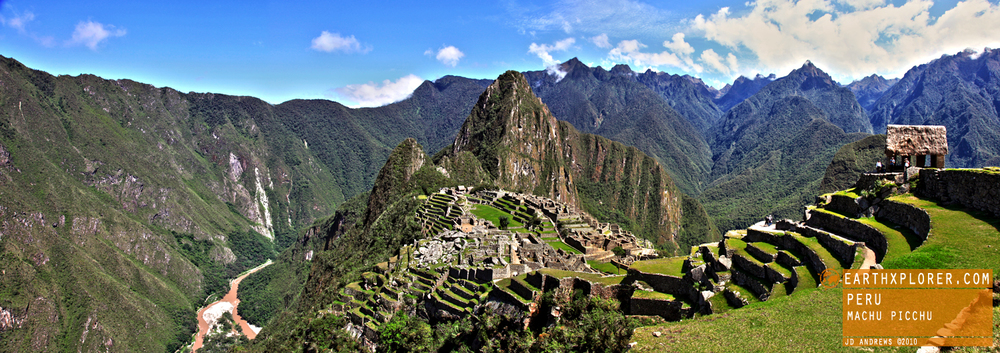 Machu Picchu - A 15th-century Inca site located 2,430 meters (7,972 feet) above sea level in Peru.