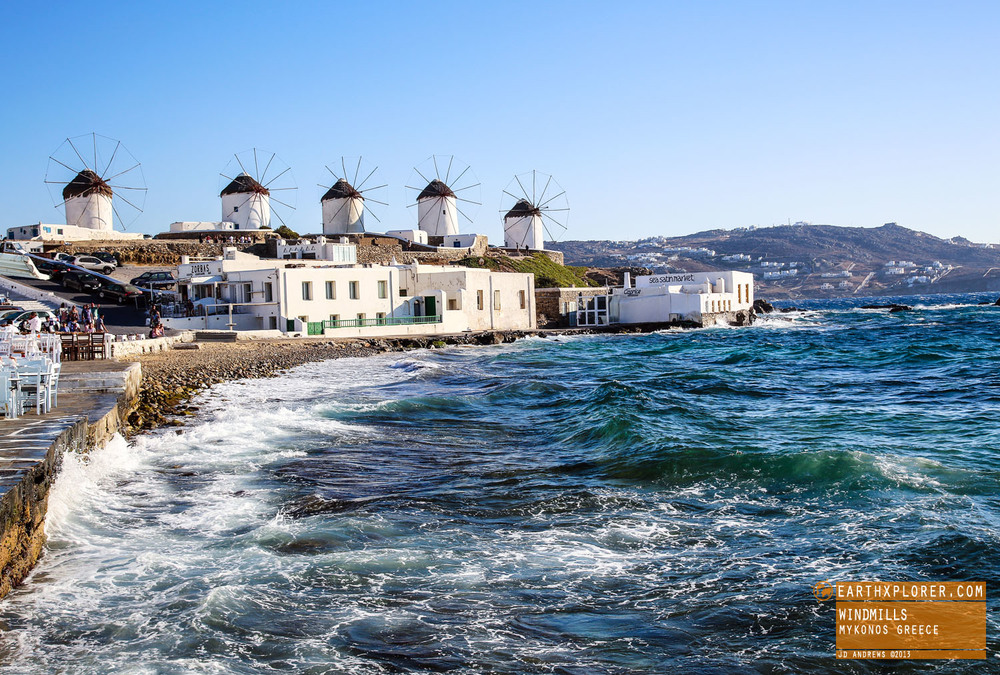 The windmills are an iconic feature of the Greek Island of the Mykonos.