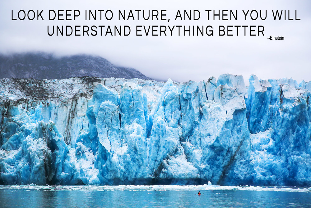 This photo is from my trip to Alaska in July. I didn't even notice the kayaker when I started editing it and when I did, realizing how tiny we all are in nature, it made me sit back and think. So when I found this quote, it just fit perfectly!