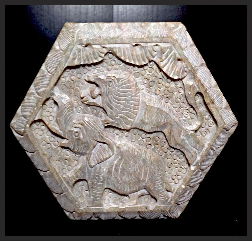 Hexagon Box With Elephant & Lion On Lid.JPG