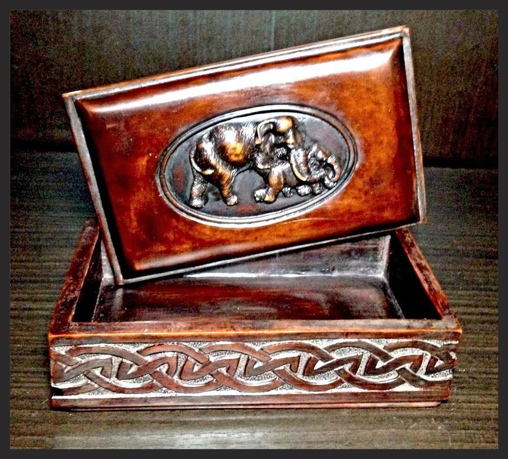 Elephants On Brown Resin Jewelry Box.JPG
