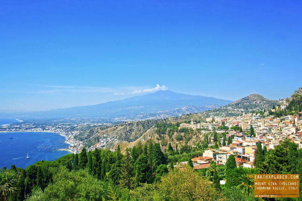 great view of mount etna  volcano  in taormina sicily