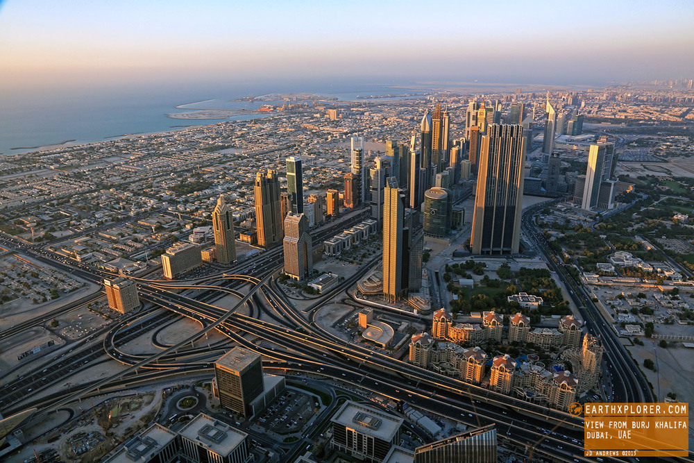 Dubai has become famous for its many skyscrapers and high-rise buildings. This photo was taken from the world's tallest building, Burj Khalifa.