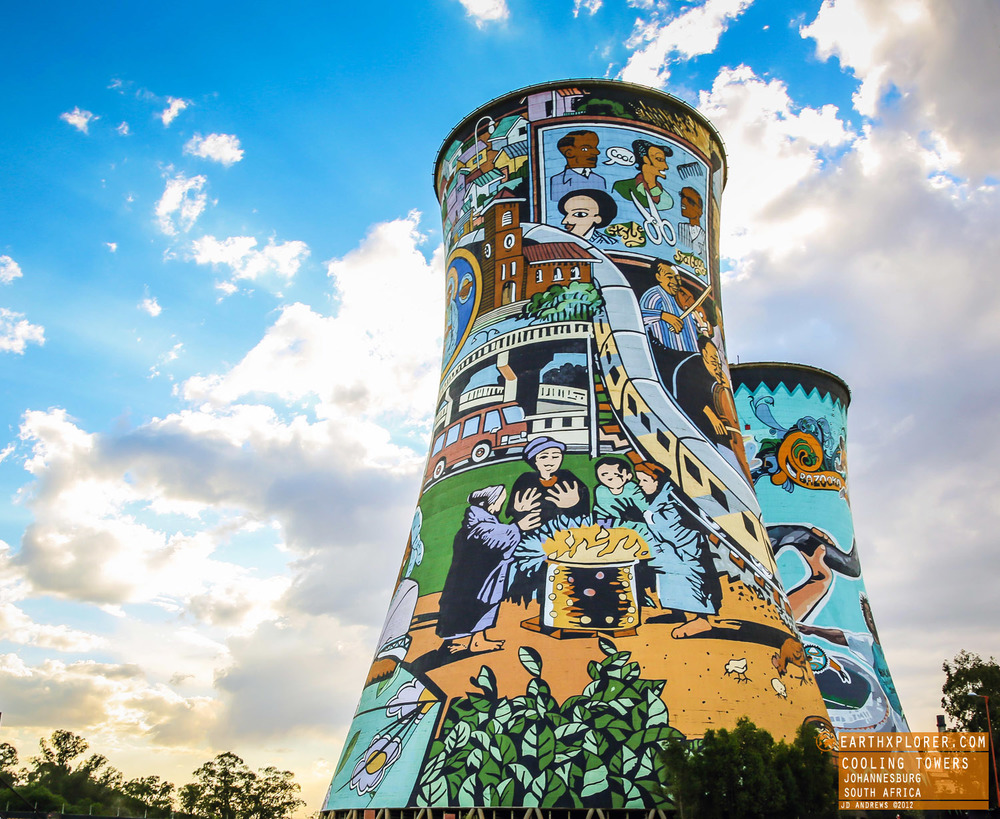 The Orlando Power Station, with its distinctive cooling towers, is an old coal fired power station in Soweto, South Africa. It was decommissioned in 1998 after 56 years of service.
