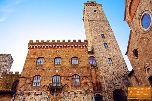 San Gimignano is famous for its medieval architecture and known as the Town of Fine Towers (tower houses)