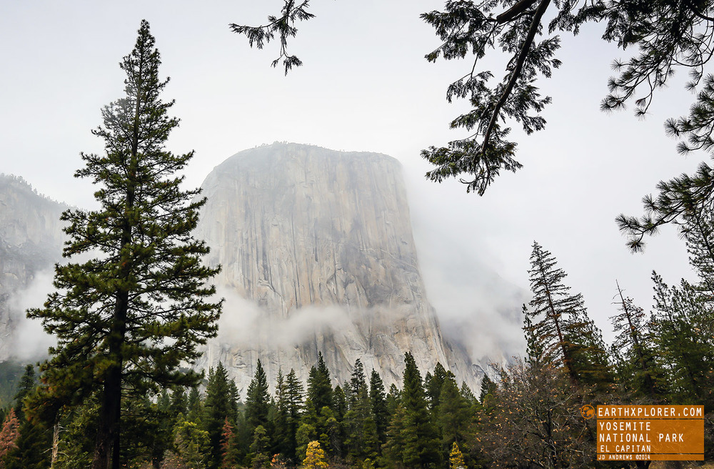 El Capitan towers 3,593 ft. above the Yosemite valley floor in Yosemite National Park, California