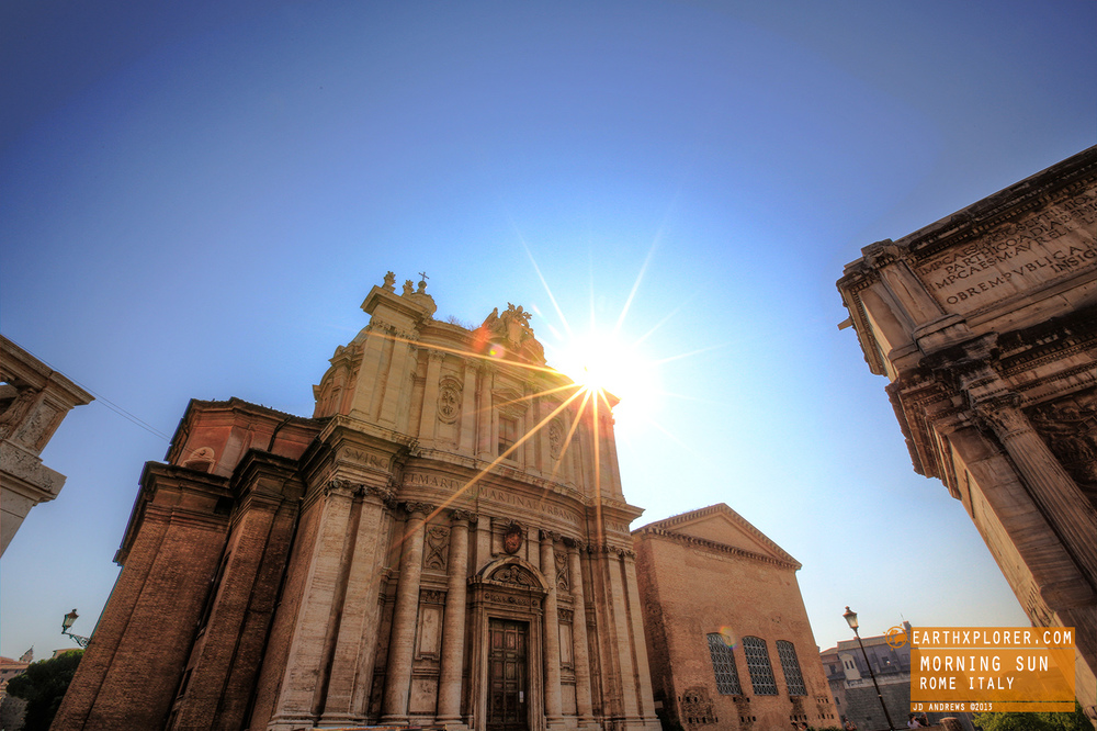 The Morning Sun in Rome Italy