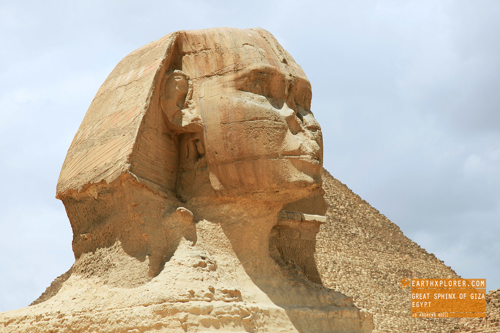 Located on the Giza Plateau on the west bank of the Nile in Giza, Egypt. The face of the Sphinx is generally believed to represent the face of the Pharaoh Khafra.