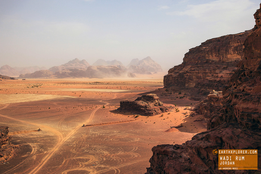 Wadi Rum also known as The Valley of the Moon is a valley cut into the sandstone and granite rock in southern Jordan.