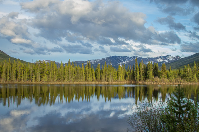 Lake at Rancheria, Yukon, Canon 7D with Canon EF 28-300mm @ 28mm, 1/10s @ f/16, ISO 100