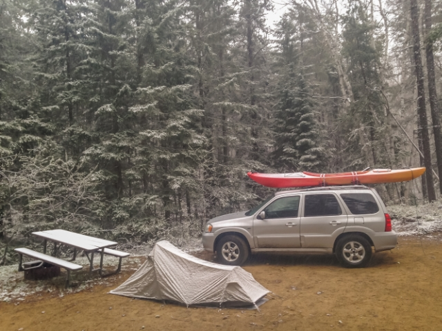 My trusty L.L.Bean MICROLIGHT SOLO TENT. IT can even withstand snow! – Esker Lakes Provincial Park, Ontario