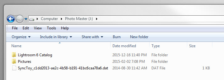 The contents of the top-level of my photo master external hard drive (J:).