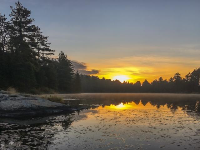 Sunrise, Norway Lake, Algonquin Provincial Park, Ontario, Canada