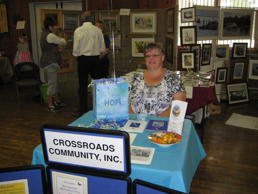 Missy Rhodes, representative of Crossroads Community, Inc., the beneficiary of the Artisan's Fair.