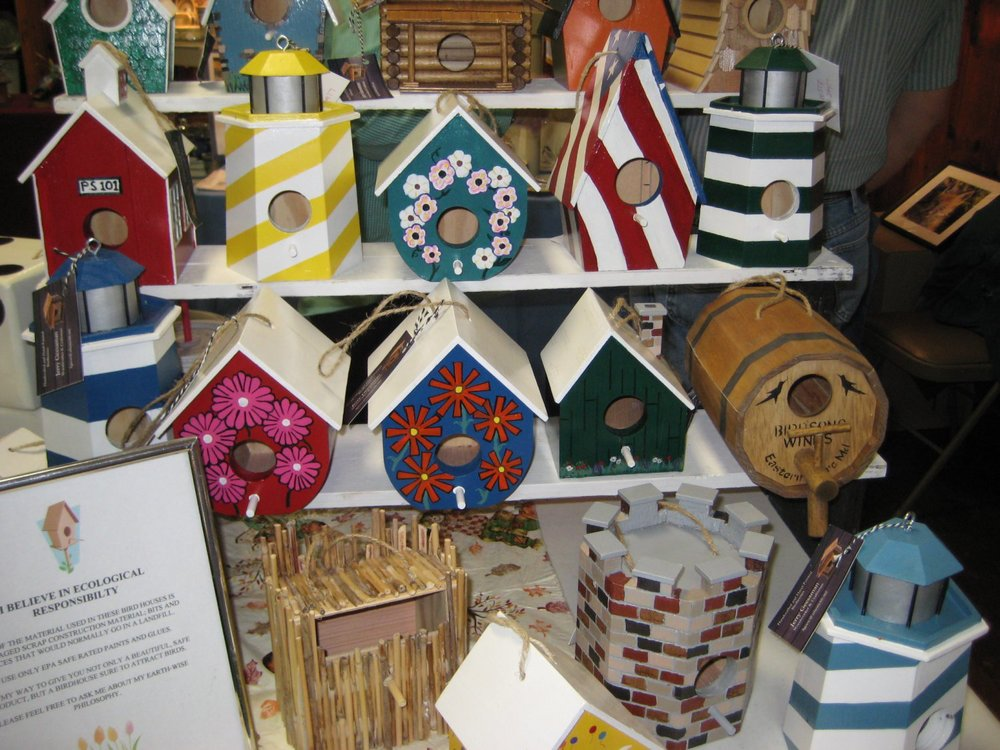 Some of Jerry and Brenda Geesaman's handcrafted, painted bird houses.