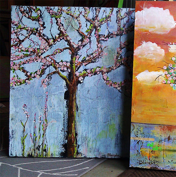 Tree Blossoms with Robins Canvas Painting