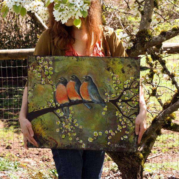 Art Painting of Three Robins by Blenda Studio