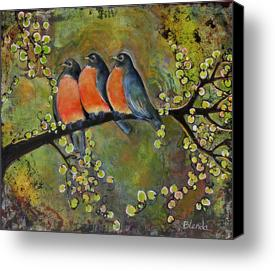 "Robin Family 8X10"" Canvas Print"